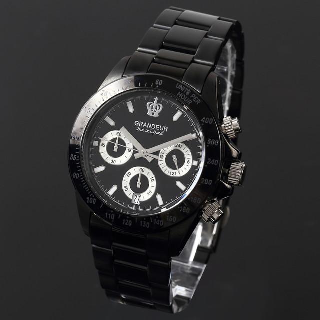 グランドール GRANDEUR 腕時計 メンズ 男性 日本製 MADE IN JAPAN モデル クォーツ 3針 ブラック クロノグラフ JGR005W1 かっこいい テレビ 俳優 ドラマ プレゼント 送料無料可能 誕生日 話題 インスタ SNS