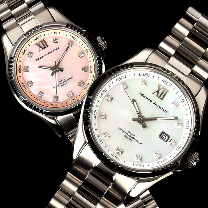 メンズ レディース ペア 腕時計 マウロジェラルディ ウォッチ ソーラー 女性 男性 電池交換不要 大人 エレガント ラッピング無料 セクシー 高級感 記念日 カップル おそろい ペア かっこいい モテ おしゃれ mj037-3-mj038-3