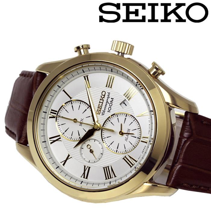 【送料無料】 SEIKO セイコー クロノグラフ クオーツ メンズ 腕時計 SNAF72P1 ホワイト ゴールド レザーベルト 防水 プレゼント ギフト ラッピング無料 激安 特価
