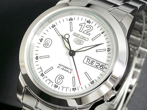 SEIKO 5 セイコー5 逆輸入 日本製 自動巻き メンズ 腕時計 SNKE57J1 ホワイト×シルバー 電池交換不要 プレゼント バレンタインデー ラッピング無料 おすすめ ランキング ブランド おしゃれ かっこいい 高級 モテ 【腕時計】 【セイコー】 【メンズ】