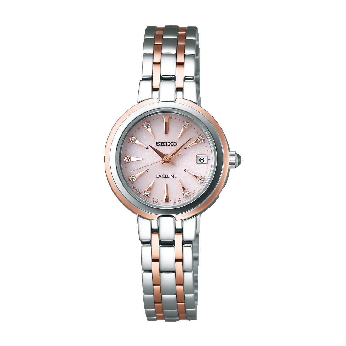 【送料無料】【国内正規品】セイコー エクセリーヌ SEIKO EXCELINE 腕時計 ソーラー 電波 SWCW018 ダイヤモンド レディース 時計 100M 10気圧防水 オフィス エレガント ギフト 人気 うでどけい とけい WATCH 時計【取り寄せ】