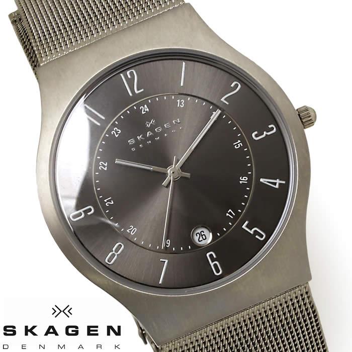 スカーゲン SKAGEN 腕時計 メンズ 233XLTTM チタニウム 薄型 時計 チタン 激安 グレー ガンメタル メッシュベルト サイズ調整簡単 シンプル オフィス プレゼント 人気 とけい うでどけい 時計 watch tokei udedokei