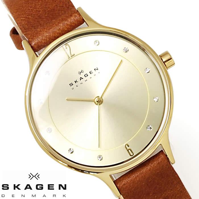 スカーゲン SKAGEN 腕時計 レディース SKW2147 革ベルト レザー 薄型 北欧 ラインストーン ブランド 激安 ブラウン ゴールド シンプル 人気 プレゼント ギフト とけい うでどけい 時計 watch tokei udedokei