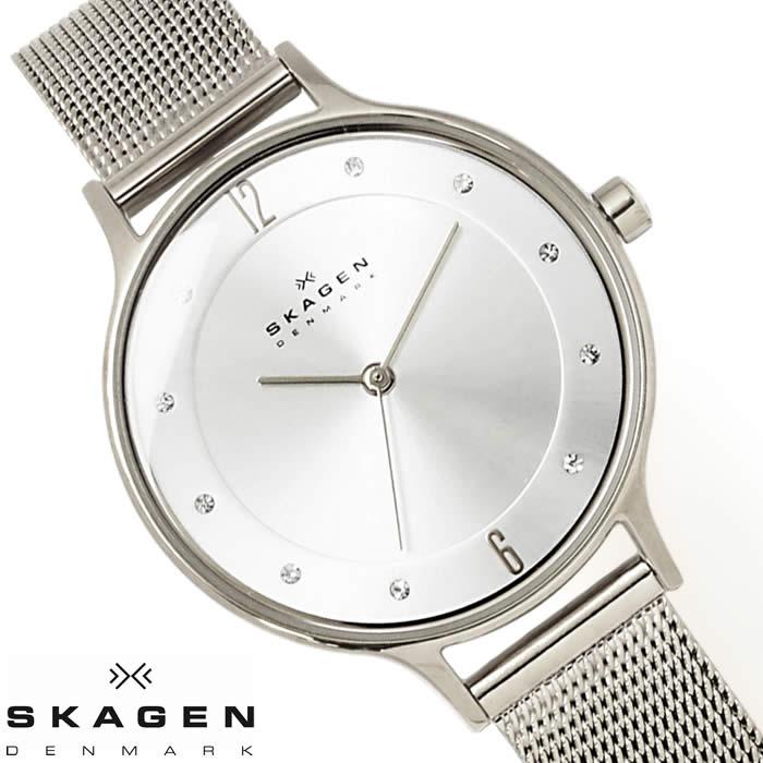 スカーゲン SKAGEN 腕時計 レディース SKW2149 メッシュベルト 薄型 北欧 ラインストーン ブランド 激安 サイズ調整簡単 シルバー シンプル オフィス ビジネス とけい うでどけい 時計 watch tokei udedokei
