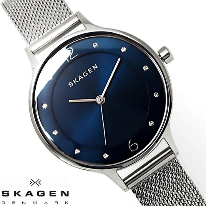 スカーゲン SKAGEN 腕時計 レディース SKW2307 メッシュベルト 薄型 北欧 ラインストーン ブランド 激安 サイズ調整簡単 シルバー ネイビー ブルー シンプル オフィス とけい うでどけい 時計 watch tokei udedokei