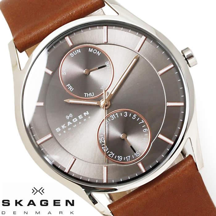 スカーゲン SKAGEN 腕時計 メンズ SKW6086 革ベルト 薄型 時計 マルチファンクション 激安 カレンダー シンプル レザー ブラウン グレー ローズゴールド 人気 とけい うでどけい 時計 watch tokei udedokei
