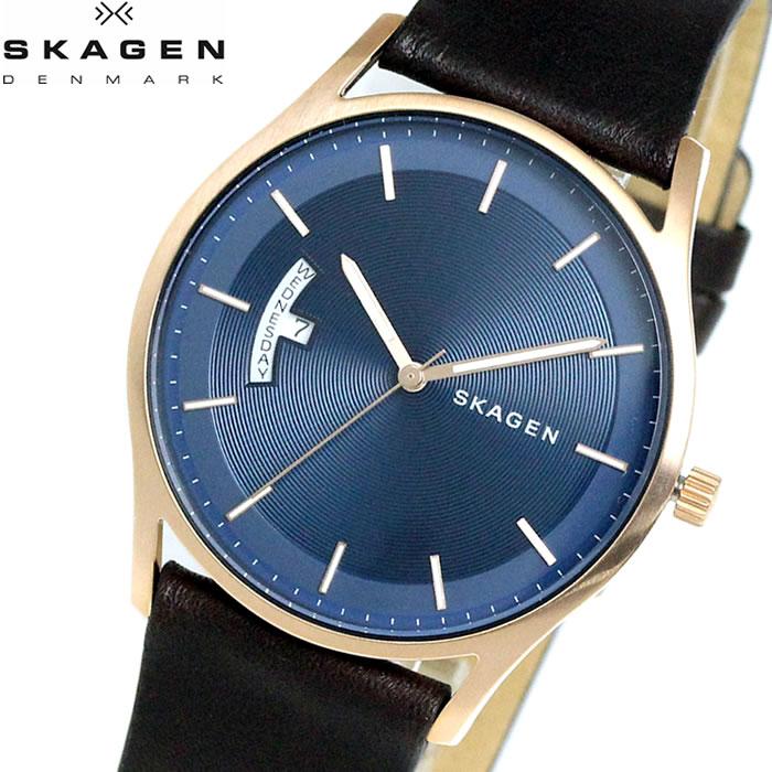 【SKAGEN】 スカーゲン 腕時計 メンズ ホルスト 40mm 革ベルト SKW6395 watch 時計 ダークブラウン ブルー プレゼント ラッピング無料 バレンタイン 誕生日 ブランド 時計 激安 かっこいい モテ 大人 上品 オフィス SNS インスタ