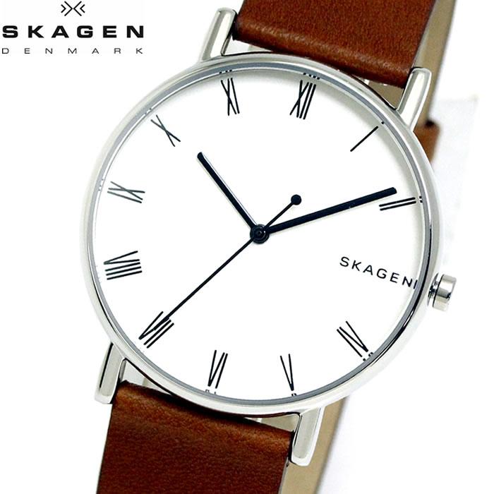 【SKAGEN】 スカーゲン 腕時計 メンズ ウォッチ SIGNATUR シグネチャー 40mm ブラウン ホワイト シルバー SKW6427 プレゼント ラッピング無料 バレンタイン 誕生日 ブランド 時計 激安 かっこいい 大人 上品 オフィス モテ SNS インスタ