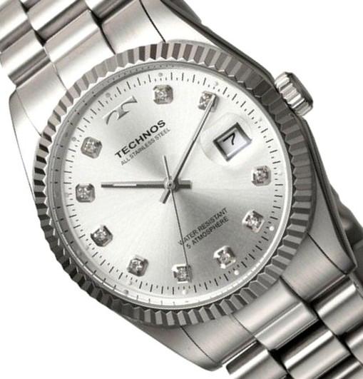 【メーカー正規品】TECHNOS テクノス 高級感 腕時計 ラウンド デイト コンビ メンズ クォーツ T9604SS ブラック プレゼント ラッピング無料 バレンタイン 誕生日 ブランド 激安 かっこいい モテ
