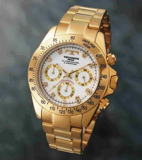 【メーカー正規品】TECHNOS テクノス 腕時計 クロノグラフ 10気圧防水 メンズ TGM639GW ゴールド/ホワイト プレゼント ラッピング無料 バレンタイン 誕生日 ブランド 激安 かっこいい モテ