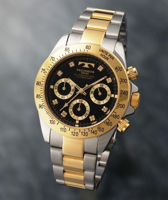 【メーカー正規品】TECHNOS テクノス 腕時計 クロノグラフ 10気圧防水 メンズ TGM640TB コンビ/ブラック プレゼント ラッピング無料 バレンタイン 誕生日 ブランド 激安 かっこいい モテ