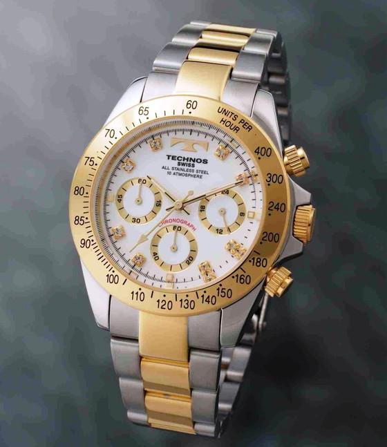 【メーカー正規品】TECHNOS テクノス 腕時計 クロノグラフ 10気圧防水 メンズ TGM640TW コンビ/ホワイト プレゼント ラッピング無料 バレンタイン 誕生日 ブランド 激安 かっこいい モテ