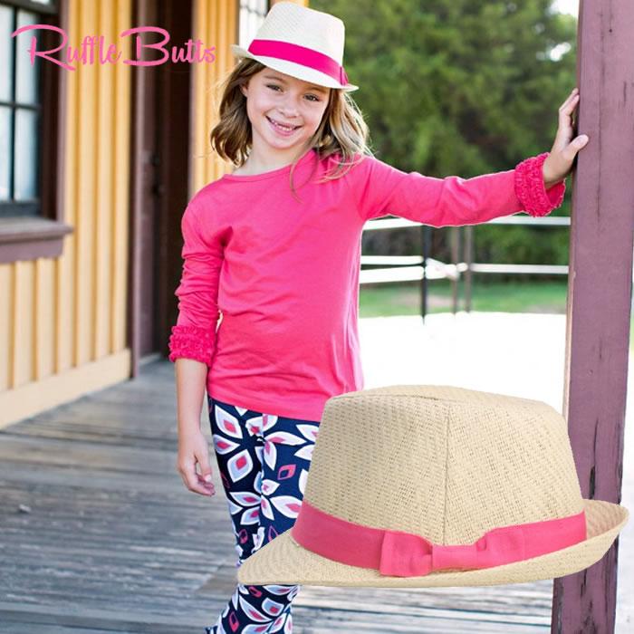 通気性に優れ 夏のお出掛けには欠かせないアイテム 蒸れにくく 汗かき赤ちゃんにもgood 海やプールでの日焼け対策に ラッフルバッツ 国産品 Rufflebuttsベビー 麦わら帽子 メール便不可Rosie ラッピング不可 卓出 メール便で発送不可 キッズ帽子即日配送 Fedoraハット