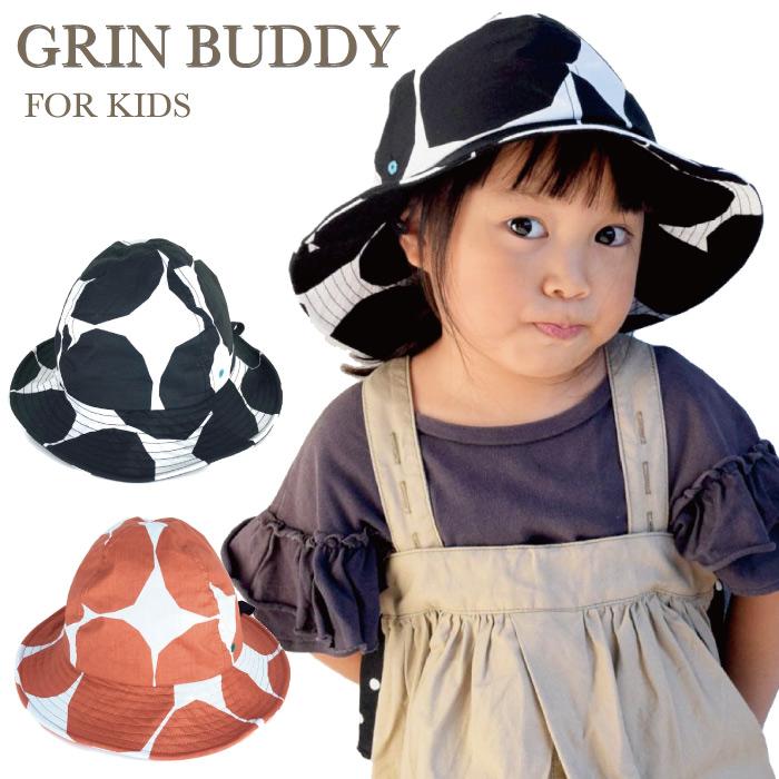 折りたたんでポケットに入れたり 持ち運びにも便利です 内側にサイズ調節可能なマジックテープ GRIN BUDDY 日本未発売 グリンバディ 大ぶりのドット柄が可愛らしい キッズサイズのハット キッズ帽子 キッズハット 至上 子供 女の子 子供帽子 男の子 キッズキャップ