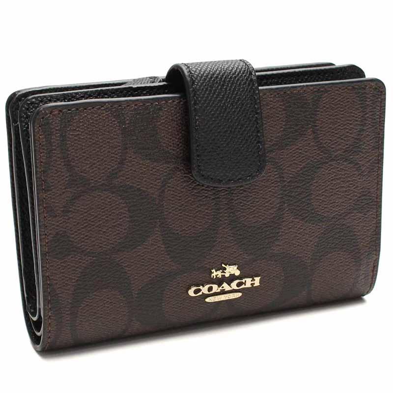 コーチ COACH 二つ折財布 F54023 ブラウン系  ブラック