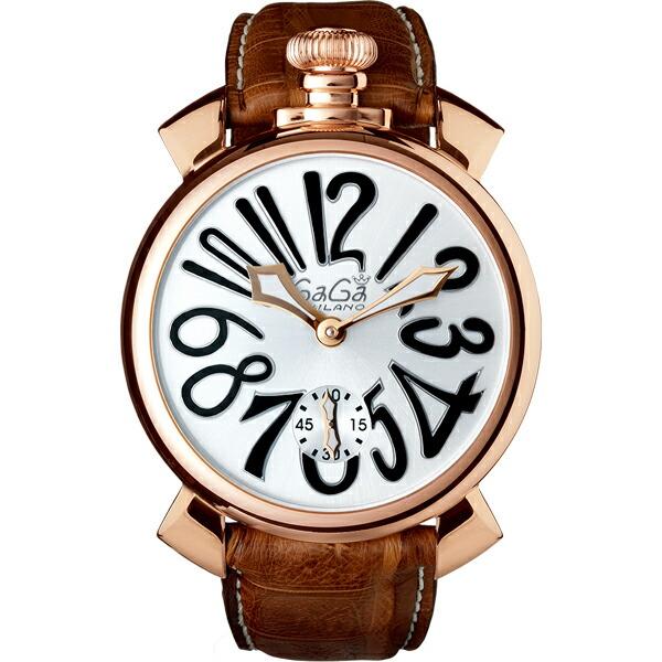 ガガミラノ GaGaMILANO ホワイト/ブラウン 48MM MANUALE 腕時計 5011.06S