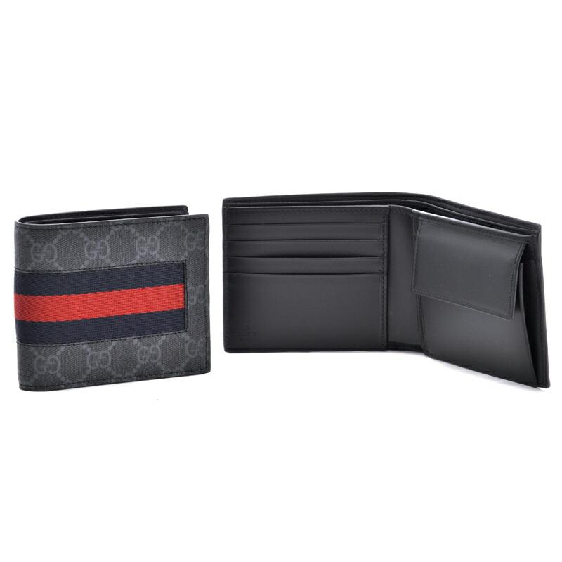 グッチ GUCCI メンズ折財布 ニューウェブ 408826-KHN4N ブラック×ブルーウェブ