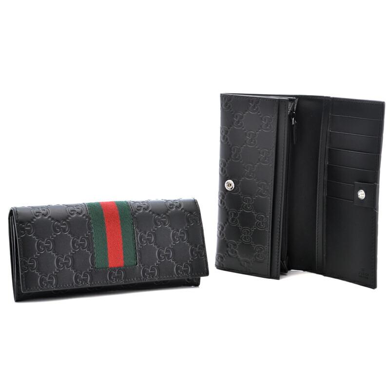グッチ GUCCI メンズ二つ折り長財布 ニューウェブ 408830-CWCLN ブラック×グリーンウェブ