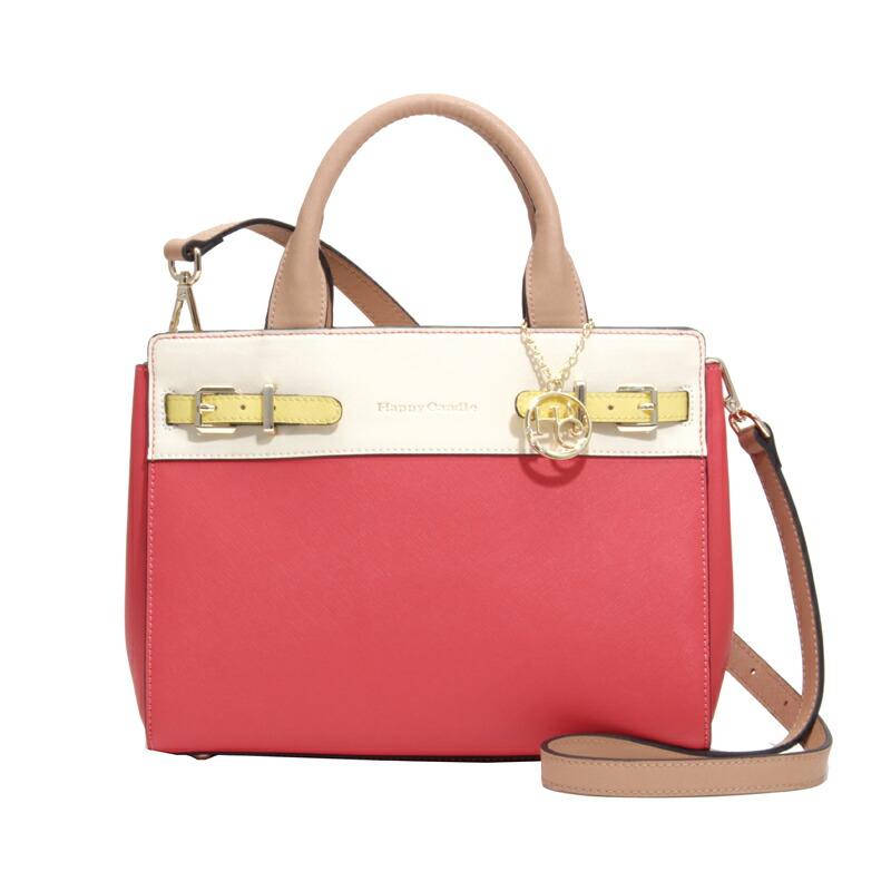 ハッピーキャンドル HappyCandle ハンドバッグ HC-1604 ピンク×オフホワイト