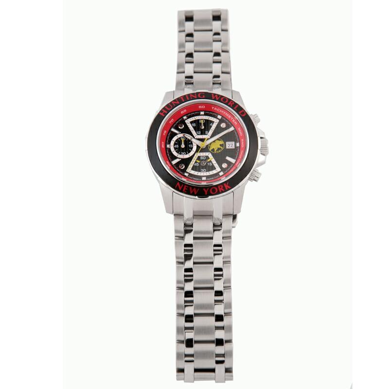 ハンティングワールド HUNTING WORLD メンズ腕時計 HW401Sレッド ステンレス/革