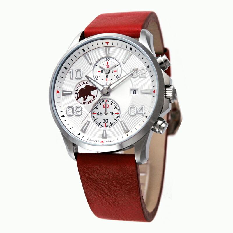 ハンティングワールド HUNTING WORLD メンズ腕時計 HW406レッド レッド革