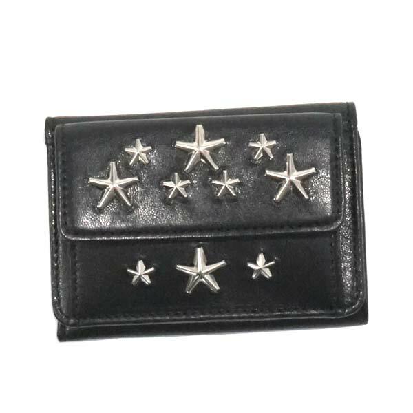 ジミーチュウ JIMMY CHOO 三つ折り財布 NEMO LEATHER WITH STARS BLACK