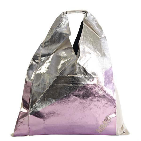 エムエム 6 メゾン マルジェラ MM6 MAISON MARGIELA ハンドバッグ LAME PRINTED MULTI COLOR TRIANGLE BAG S54WD0039 SILVER PINK