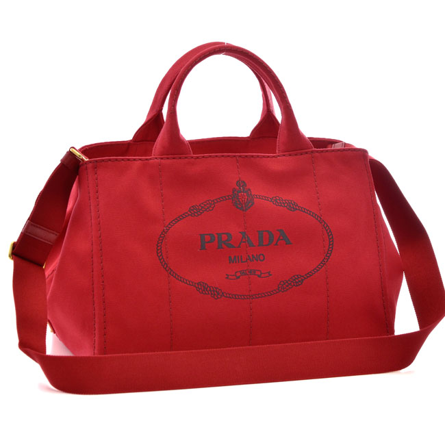 プラダ PRADA ハンドバッグ CANAPA レッド 1BG642