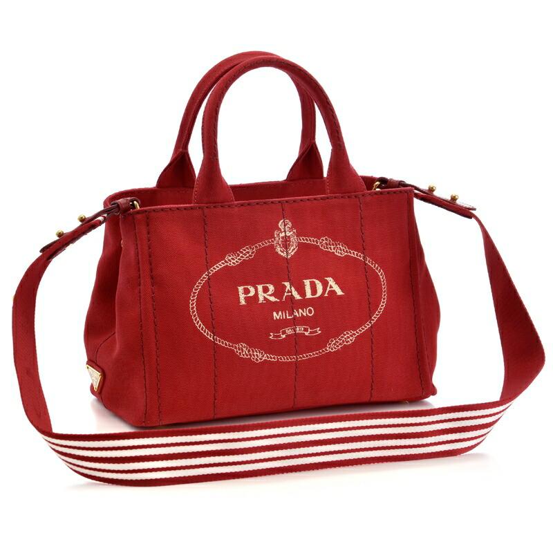プラダ PRADA 2WAYハンドバッグ CANAPA-ROO 1BG439 ROSSO/TALCO