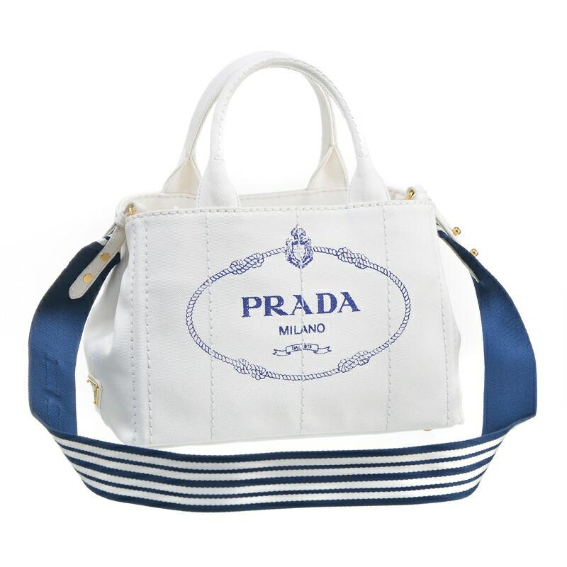 プラダ PRADA 2WAYハンドバッグ CANAPA-ROO 1BG439 BIANCO/BLU