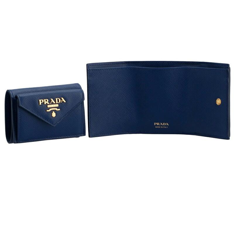 プラダ PRADA 三つ折財布 1MH021 BLUETT SA/M/O