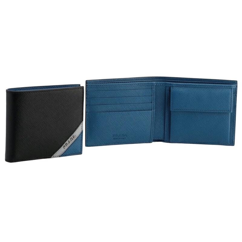 プラダ PRADA 二つ折財布 2MO738 NERO+GRANITO+COBALTO