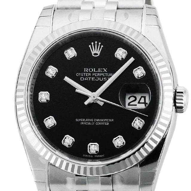 ロレックス ROLEX デイトジャスト メンズ 腕時計 ブラック 116234G