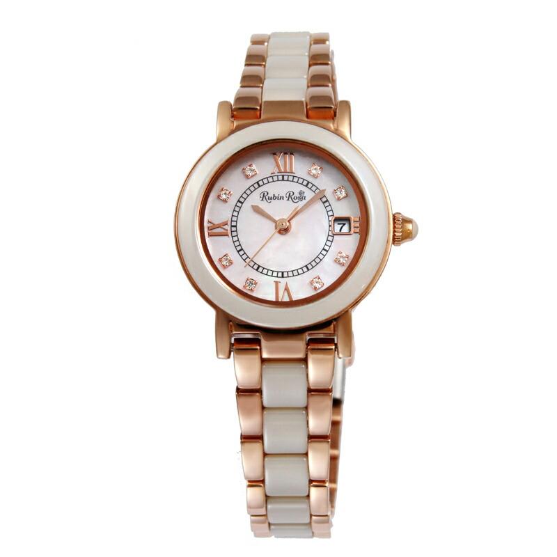 ルビンローザ RubinRosa 腕時計 レディース R309PBE ホワイトシェル