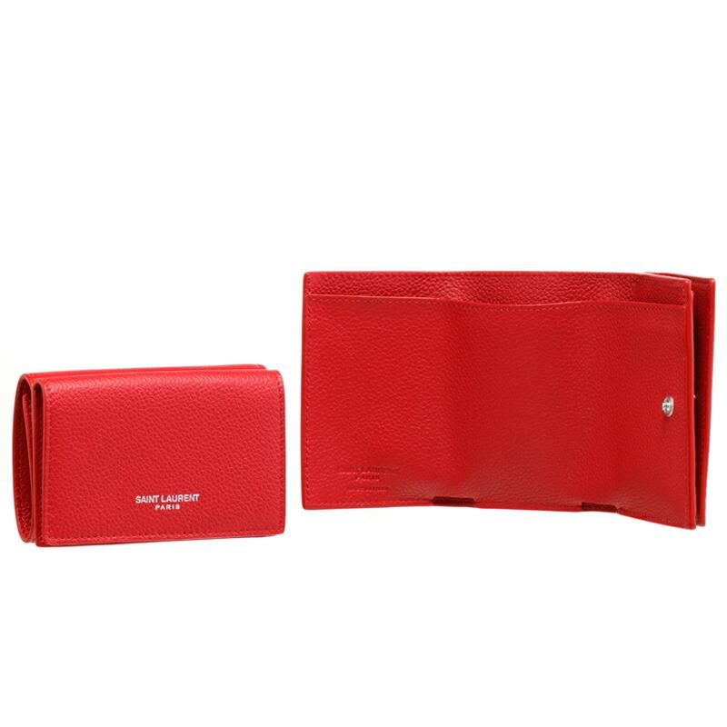 イヴサンローラン SAINT LAURENT 三つ折財布 459784-B680N BANDANA RED