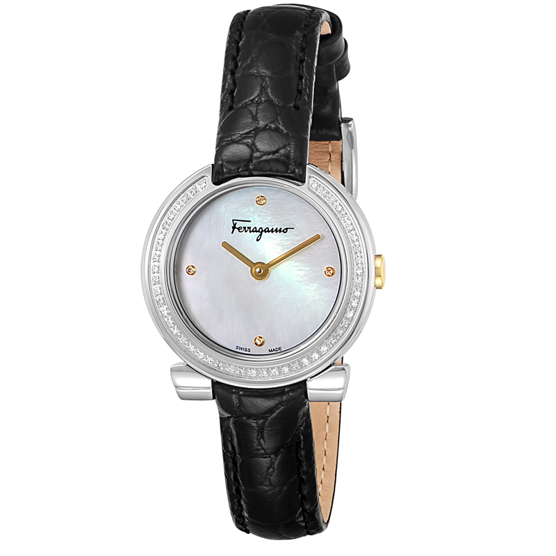 フェラガモ Ferragamo 腕時計 FAP030016 ホワイトパール ブラックベルト レディース