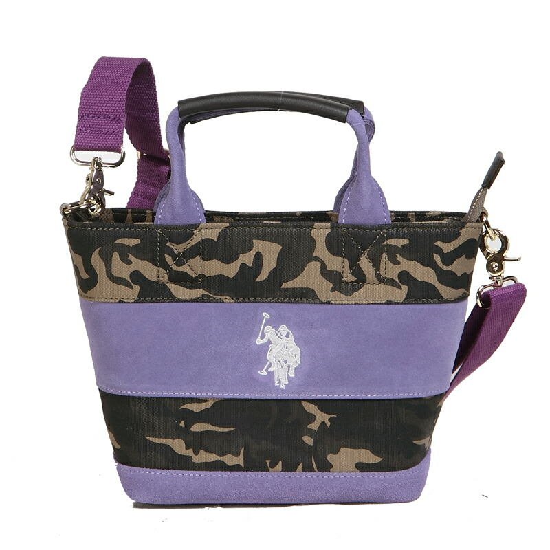 ユーエスポロアッスン U.S. POLO ASSN. ハンドバッグ WIDE BORDER SUEDE US2505 CAMOUFLAGE×PURPLE