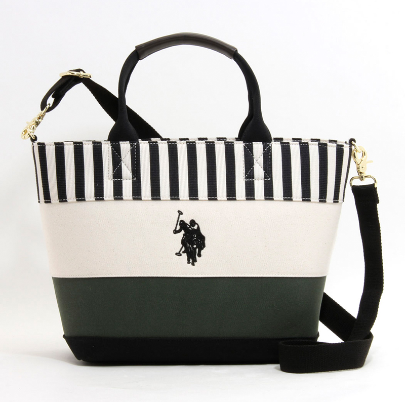 ユーエスポロアッスン U.S.POLO ASSN トートバッグ US2510 STRIPE WIDE BORDER TOTE BLACK× WHITE