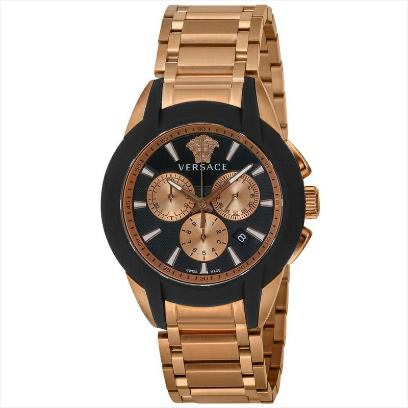 ジャンニヴェルサーチ VERSACE メンズ腕時計 キャラクタークロノ VEM800318 ブラック