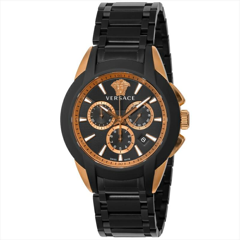 ジャンニヴェルサーチ VERSACE メンズ腕時計 キャラクタークロノ VEM800418 ブラック