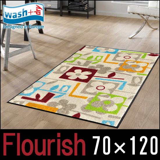 【wash + dry】Flourish【75×120cm】屋外・屋内兼用 洗えるキッチンマット 薄型 クリーンテックスジャパン【ウォッシュアンドドライ】