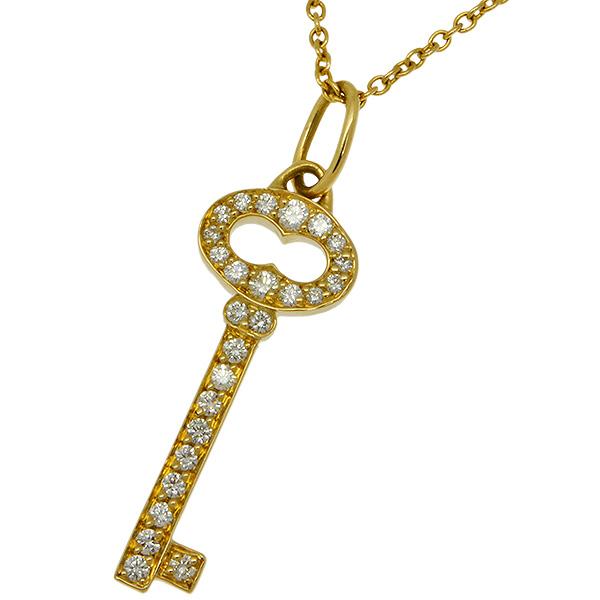 送料無料・返品可♪ティファニー ヴィンテージ オーバルキー ダイヤ ミニ ネックレス 40.5cm K18YG 新品仕上げ済み♪【中古】