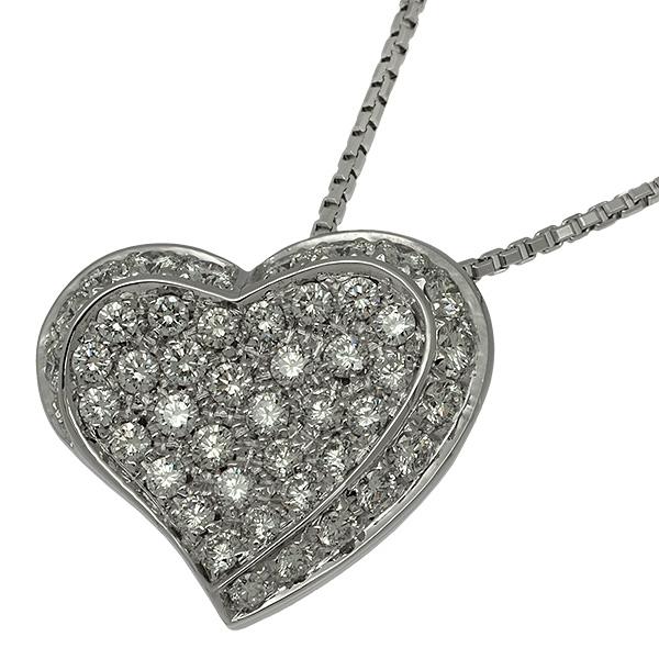 送料無料・返品可♪スタージュエリー ハートモチーフ ダイヤ計0.89ct ネックレス K18WG 新品仕上げ済み♪【中古】