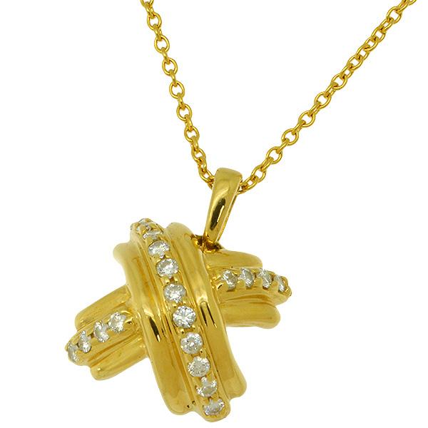 送料無料 返品可 売却 ティファニー シグネチャー ダイヤ 新品仕上げ済み 41cm K18YG 中古 ネックレス セール品