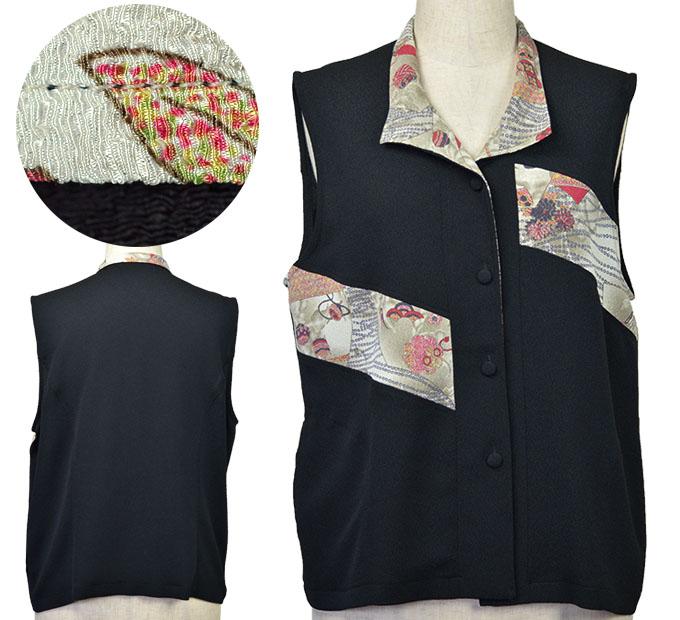 フリーサイズ和調切替襟付きベスト シニアファッション 春 ミセス 間物 高齢者 シニア向け婦人服
