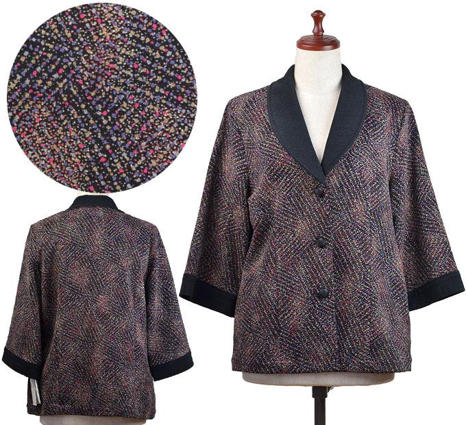 柄物ジャケットフリーサイズ シニアファッション 冬 ミセス