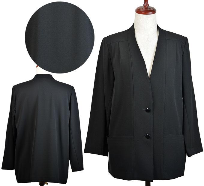 11号/13号/15号ストレッチ黒ジャケット シニアファッション 春 秋 ミセス シニア向け婦人服