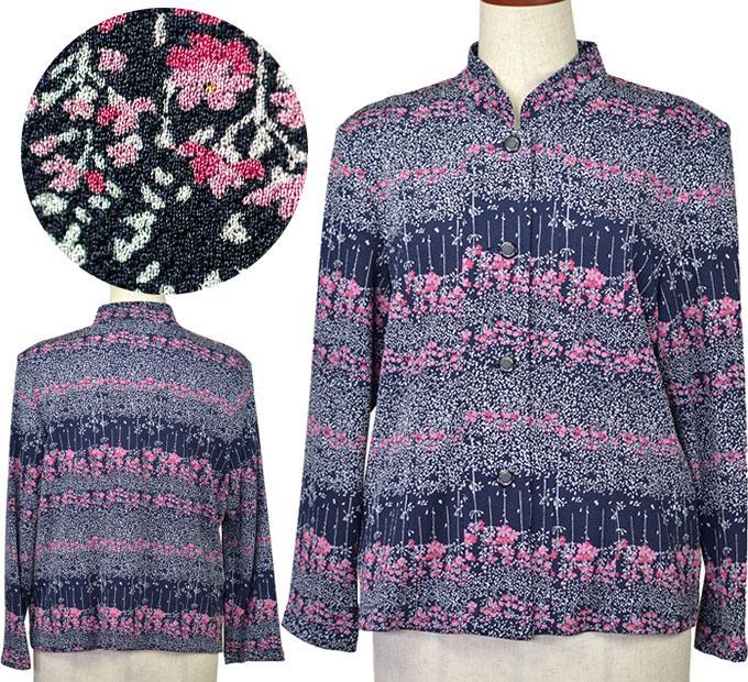 スタンドカラー花柄ジャケット 13号 シニアファッション ミセス 柄物 春 シニア向け 婦人服