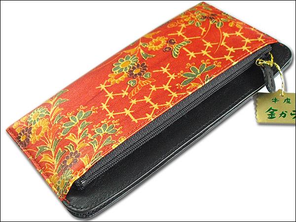 本牛皮 伝統の蒸し染め技法、金更紗 お札入れ長財布 朱色系 1金から 日本製PiTZXOwku
