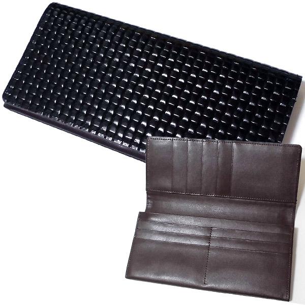 ※牛革ブロックメッシュ&裏牛革 ブラック&ブラウン 長財布 束入れ 日本製